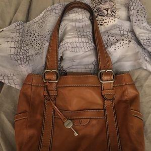 Fossil Genuine Leather Camel  Roomy Shoulder Bag